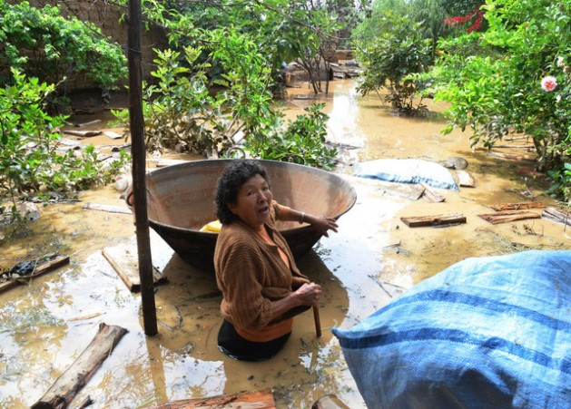 A woman stands in water trying to recover her possessions during the 2014 Bolivian Amazon flooding. (Image from ipsnews.net.)
