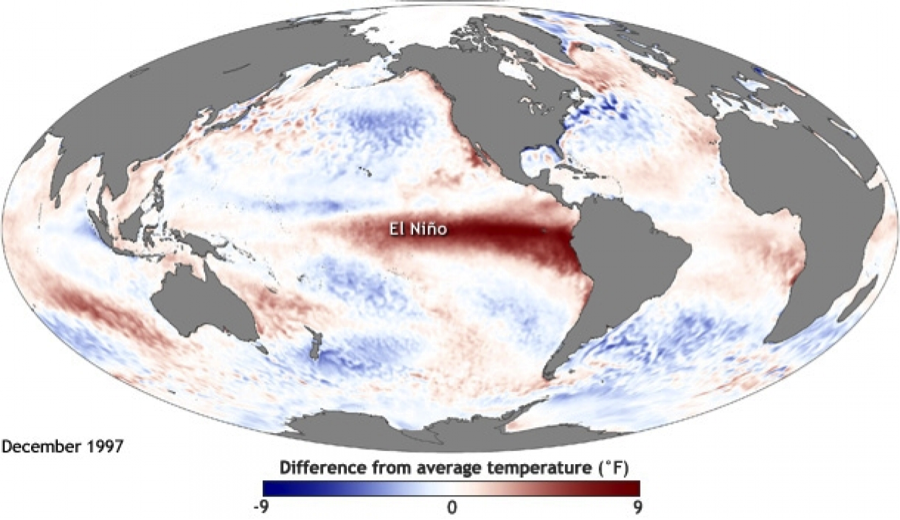 Source: U.S. National Oceanic and Atmospheric Administration (NOAA). Warmer than normal sea surface temperatures in the Pacific Ocean during the 1997 El Nino event, the strongest on record.
