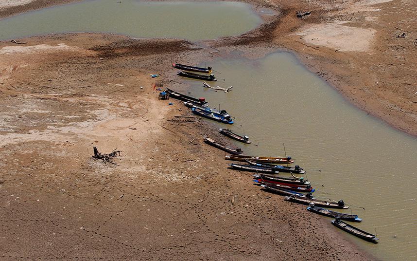 Water reserves run low in Thailand's Lamtakong Dam.