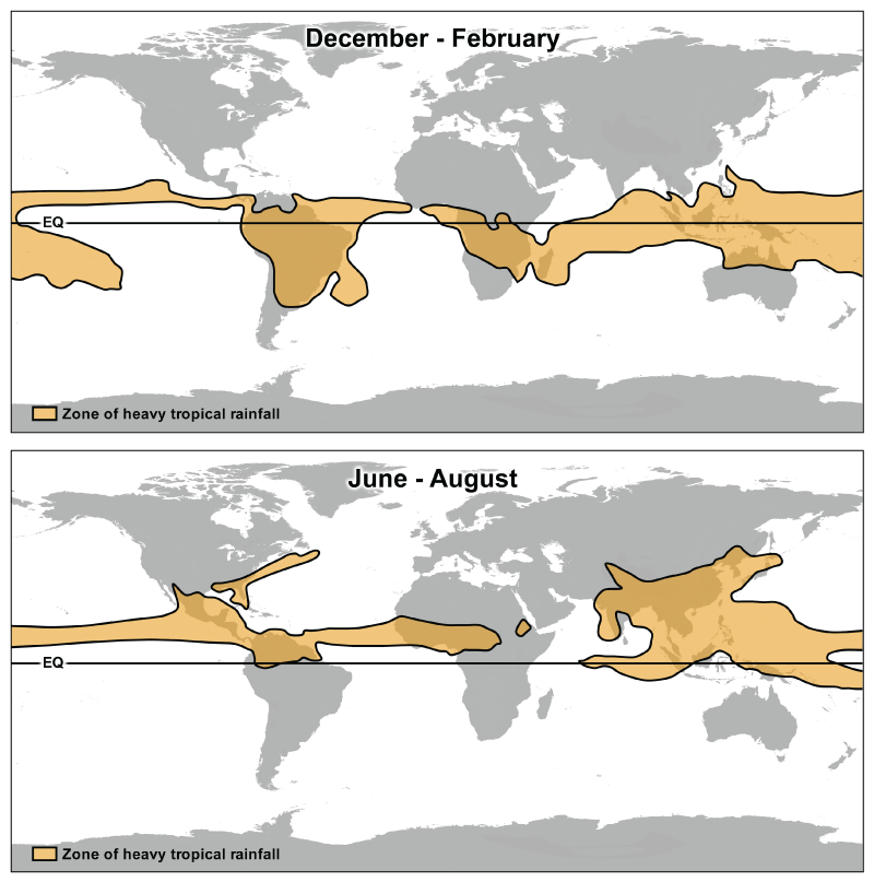 The locations of the heaviest tropical rainfall from December to February (top) and June to August (bottom).