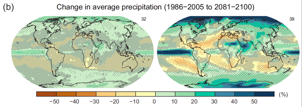 From the IPCC AR5 report: These are the mean climate model projections for next-century rainfall change; left panel shows a low-emissions scenario and the right panel shows a high-emissions scenario; stippling indicates wide agreement among the ensemble of climate models while hatching indicates poor agreement.